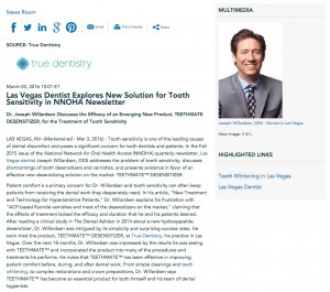 Joseph Willardsen, DDS, a dentist in Las Vegas, discusses tooth sensitivity in the NNOHA newsletter.